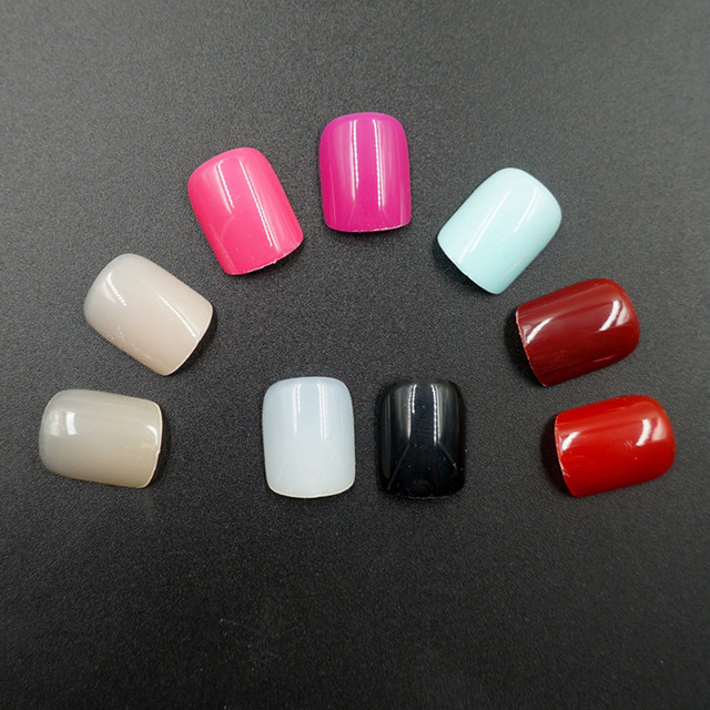 120pcs Short False Nails Full Cover Stiletto Coffin Fake Nails ABS Artificial Tips Nail Art Decorations Women Made up