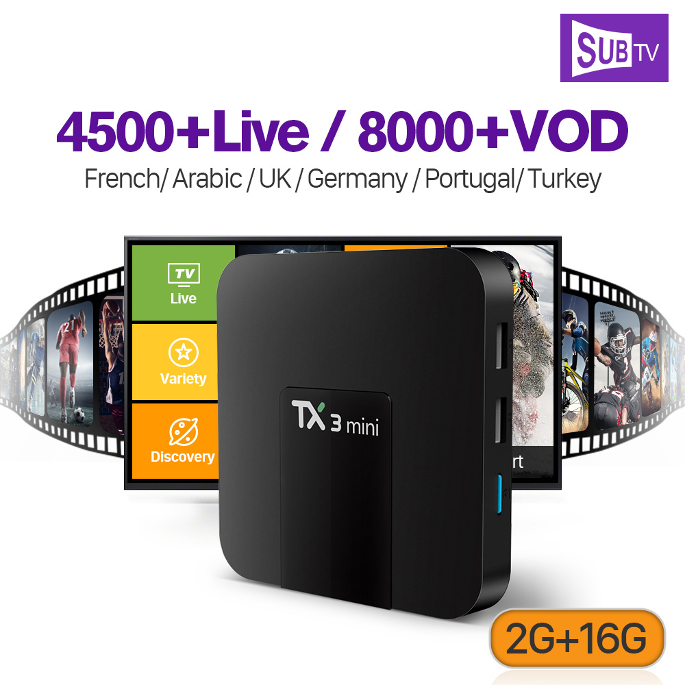 IPTV Arabic Subscription SUBTV Code 4500 Live 8000 VOD TX3 MINI Smart Android 7.1 TV Box 2G 16G Europe Albania French IPTV BoxIPTV Arabic Subscription SUBTV Code 4500 Live 8000 VOD TX3 MINI Smart Android 7.1 TV Box 2G 16G Europe Albania French IPTV Box