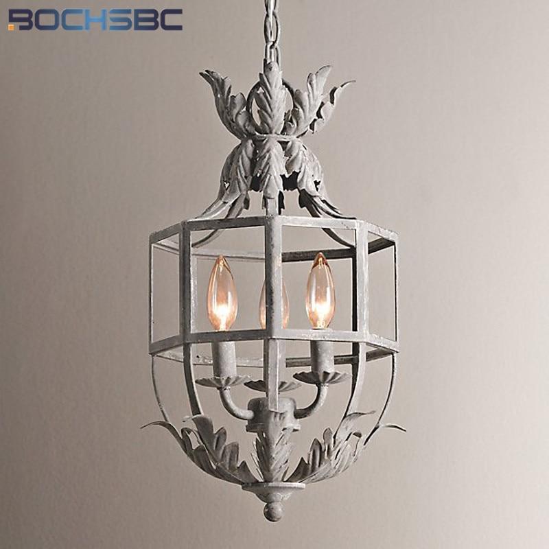 BOCHSBCB Retro Aisle Hallway Chain Pendant Lamp Anacthus Leaf French Hanging Lights Fixtures Balcony Corridor Chandelier Loft