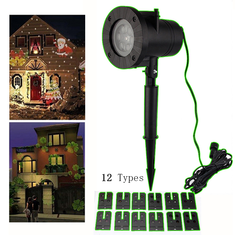 12 Types 6W LED Christmas Laser Snowflake Projector Outdoor LED Waterproof Disco Lights For Home Garden Light Indoor Decoration 8 types led snowflake projector light waterproof christmas decoration lamp for home xmas lights outdoor indoor garden party