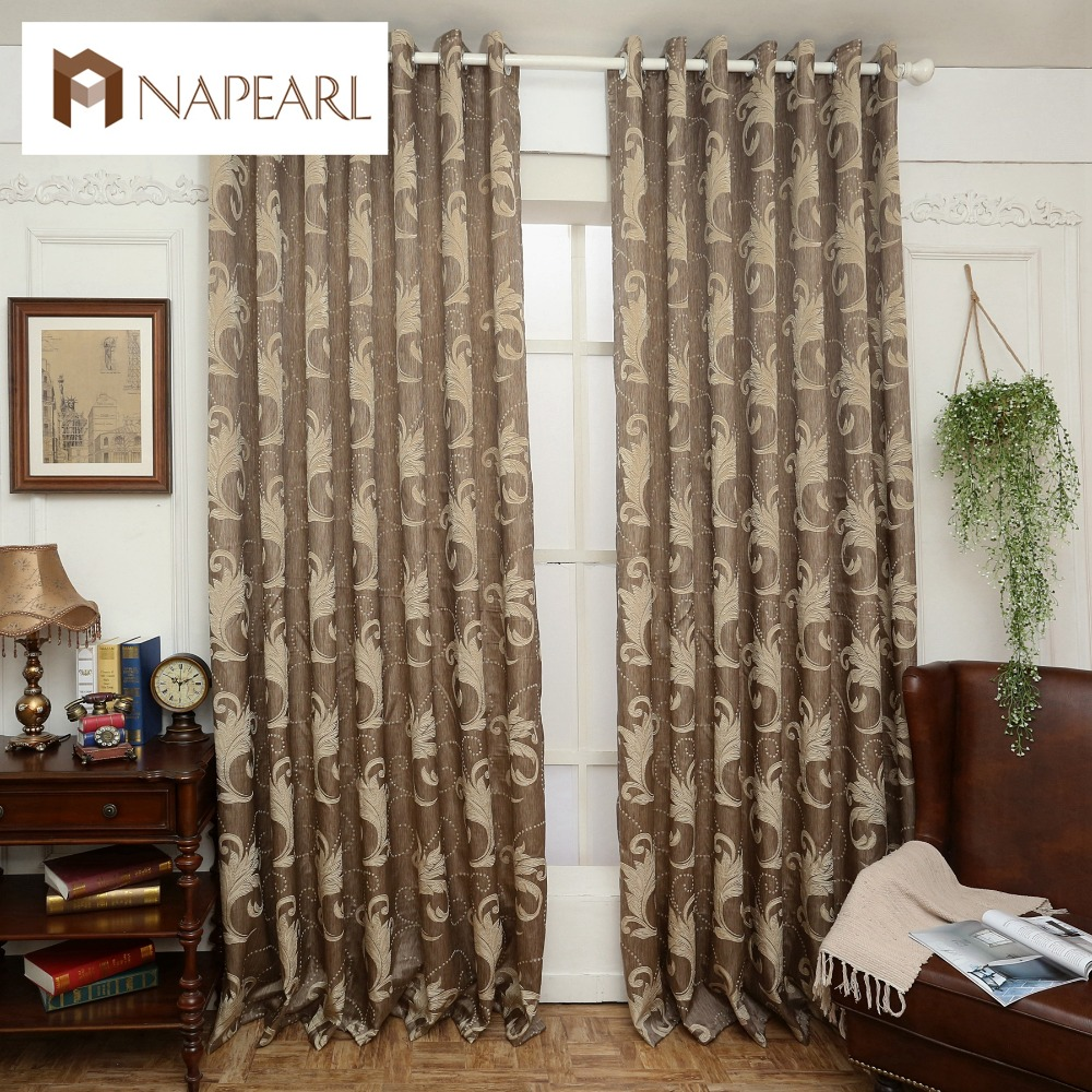 Brown Semi Blackout Curtains Blind Luxury Jacquard Design Fashion Window Treatments Living Room