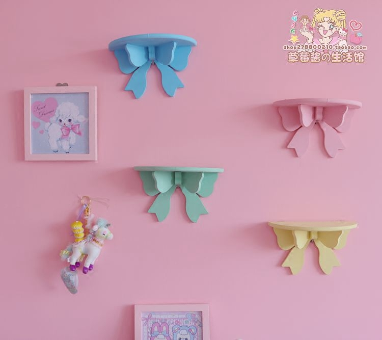Cute Butterfly Wooden Decorative Wall Shelf Storage Rack Organization For Kid Room DIY Wall Decoration Holder Home Decor