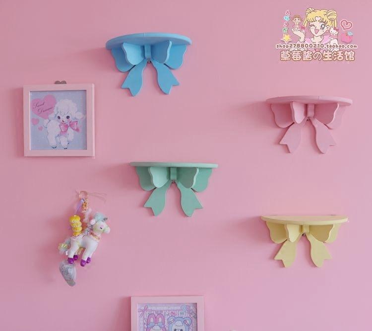 Cute Butterfly Wooden Decorative Wall Shelf Storage Rack Organization For Kid Room DIY Wall Decoration Holder Home Decor