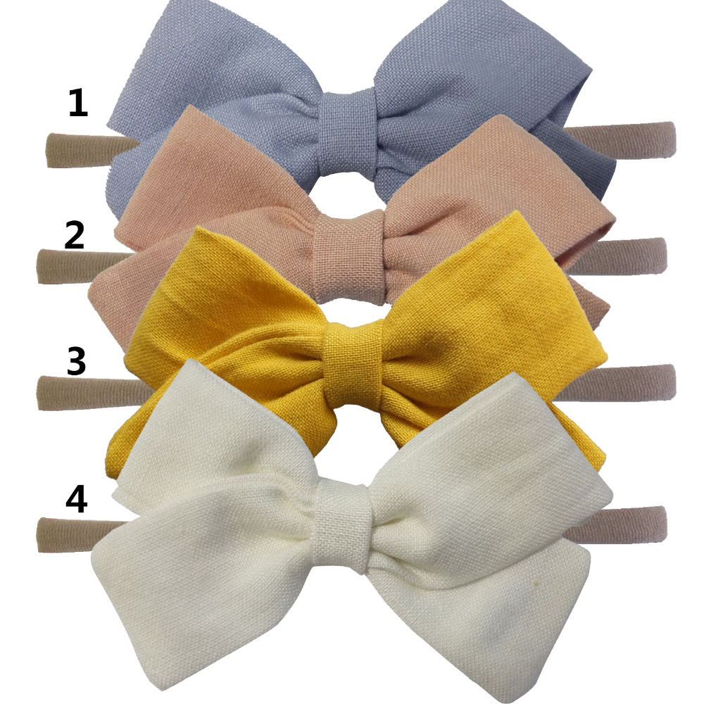 4 PCS Kids Girls Fabric bows headbands Hair bow Elastic hair bands Cloth Hair tie Bows Hairbands Headwear Hair Accessories 2018 new headbands for women print chiffon boho ethnic style elastic hairbands lady hair ornament holder hair bands accessories