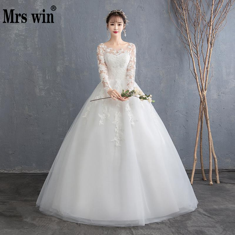Cheap Wedding Dress 2019 New Mrs Win Full Sleeve Classic Embroidery Lace Up Ball Gown Princess