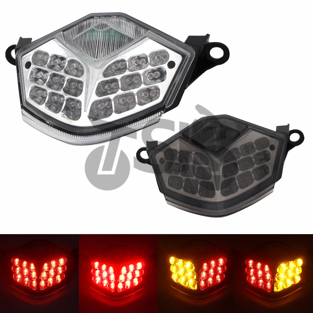 For KAWASAKI ZX 10R ZX10R 2008 2009 2010 2011 2012 Motorcycle LED Rear Turn Signal Tail Stop Light Lamps Integrated