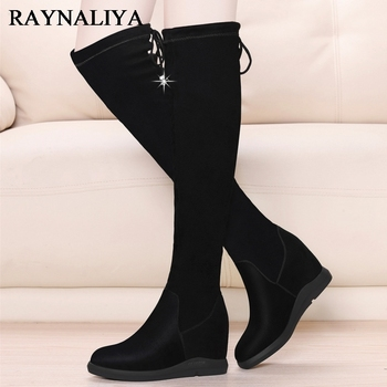 Over Knee Boots For Women Black Winter Warm Motorcycle Boots Elasticity Microfiher Low Heel Thigh High Boots Shoes BFT-A0031