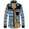 Popular men's fleece warm shirts slim fit long sleeve casual fashion plaid camisa masculina shirts high quality  plus size M-3XL