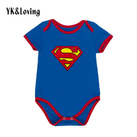 Summer Style Superman Baby Boy Romper Cotton Short Sleeve Baby Clothes Blue Superhero Costumes For 0