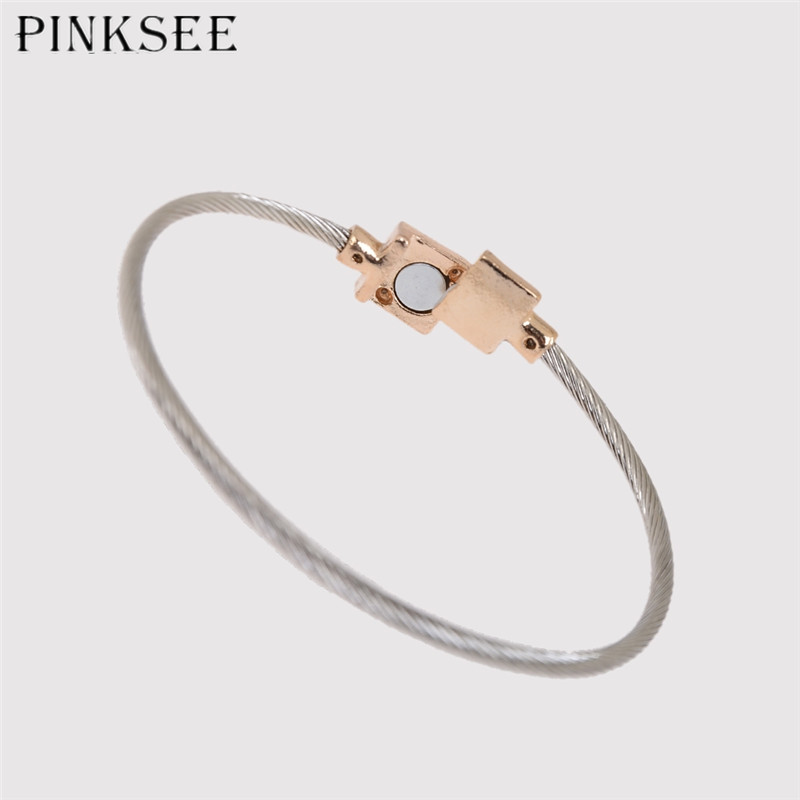 c584e5c87ae Aliexpress.com : Buy PINKSEE Classic Crystal Alloy Geometric Charm Bracelet  for Women Open Cuff Bangle Wedding Party Jewelry Gift from Reliable Bangles  ...