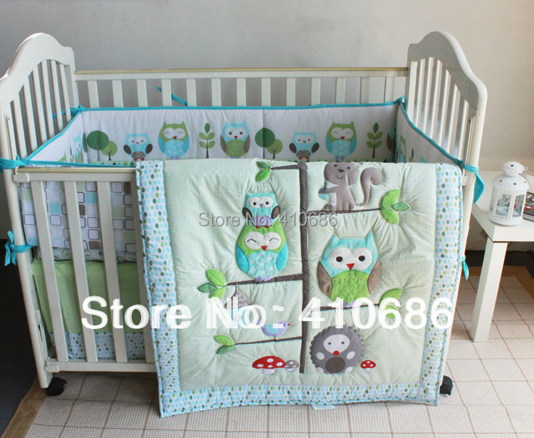 Hy Owls And Friends Baby Nursery Crib Bedding Set Owl Boy Cot Embroidered Quilt Per Sheet Dust Ruffle Bed Kit In Sets From Mother Kids