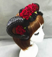 Gothic Sheep Horn Headdress Roses Headband Goth Beauty Horror Horns Halloween Black Veil Lace Retro Hair