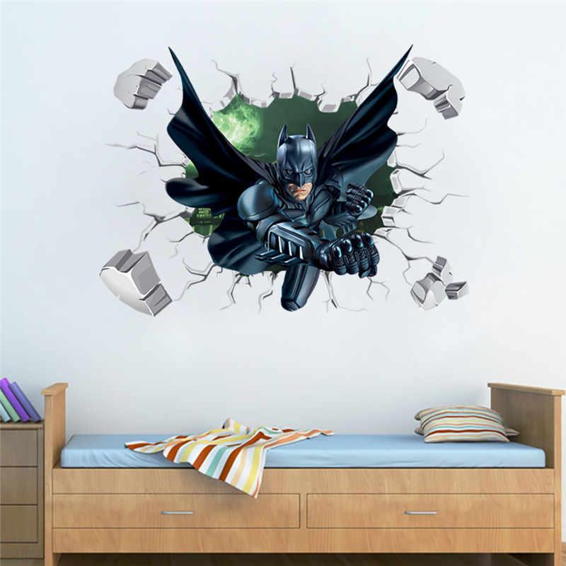 DC Batman Siêu Anh Hùng Bị Phá Vỡ Cửa Sổ LEGO Dán Tường Cho Bé Phòng Trang Trí Bức Tranh Tường Phòng Ngủ Phụ Kiện Decal