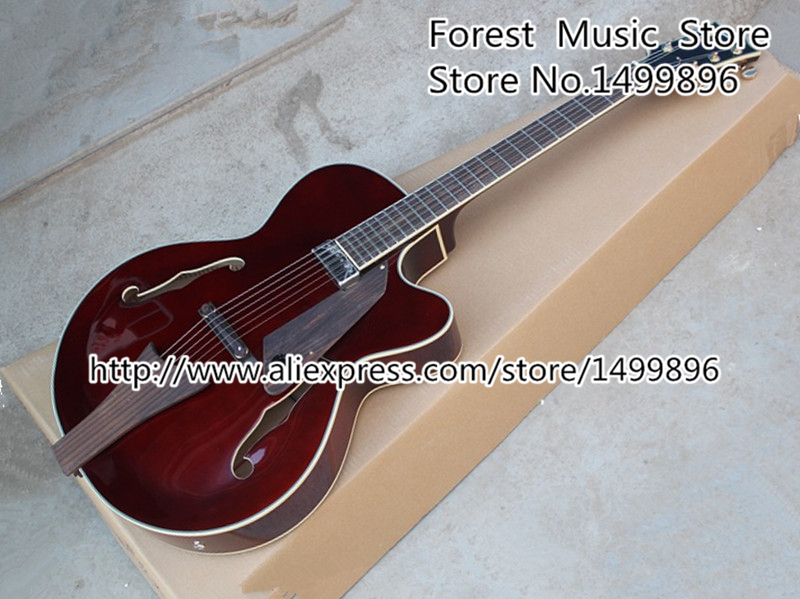 Free Shipping Dark Red 6 Strings Hollow Body Jazz Electric Guitar Left Handed Available free shipping rotten knobs tree wood archtop guitar hollow body 335 jazz electric guitar