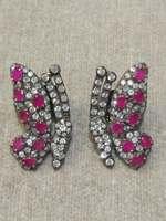 Винтаж Природный полудрагоценный камень бабочка серьги стержни 925 серебро красный зеленый цвет Женская мода ювелирные изделия