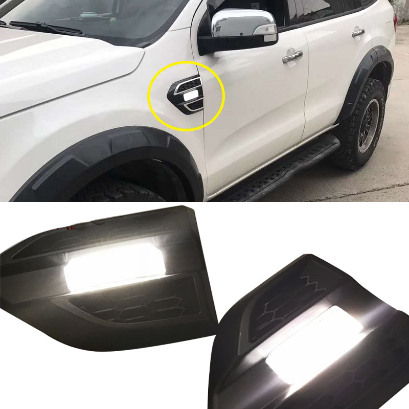 2pcs/set Car Door Cover LED Daytime Running Light Day Lights For FORD RANGER T7 T8 EVERST 2015-18 Car Door Side Lamp Turn Lights