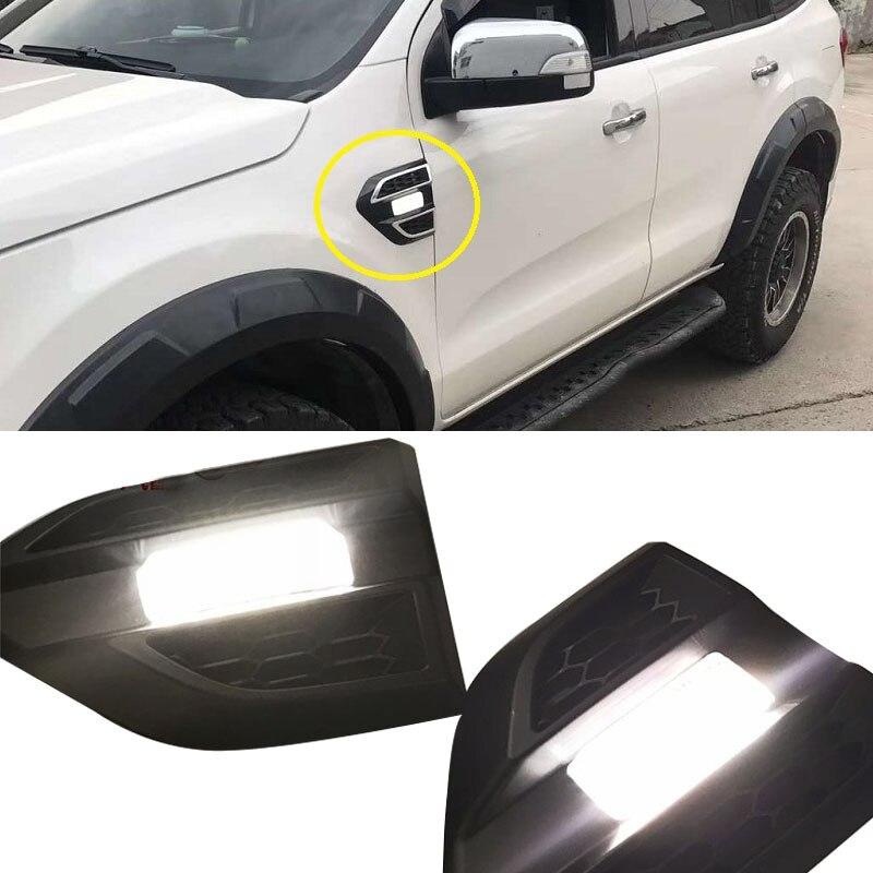 2 pcs/ensemble De Voiture couverture de porte Feux de jour Led feux de jour pour la FORD RANGER T6 T7 EVERST 2012-18 voiture porte côté lampe turn lumières