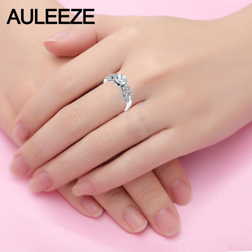 Leaf Pattern Moissanites Engagement Ring Sets 14K White Gold 1CT ...