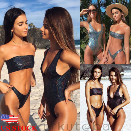 Hirigin 2 Style Sequnis Swimwear For Women New PU Leatherwear Swimsuit Women Bathing Suit Padded Strapless And One Piece Suit