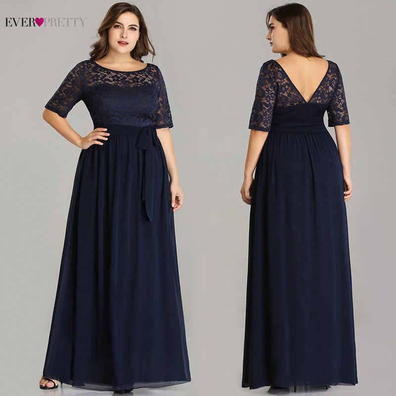 Talla grande vestidos De Madre De la novia siempre bonito EZ07624NB elegante una línea larga De encaje Formal vestidos De noche bata De velada 2019