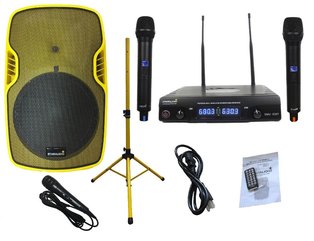 STARAUDIO Yellow 15 3500W Powered Active PA DJ Stage USB SD FM BT Speaker W/ Stand 2CH UHF Mics SSYM-15