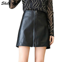Кожаные юбки женские весенние модные овчины Натуральная кожа Юбки с высокой талией круглый металлический передний молния трапециевидные ю