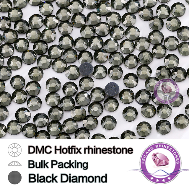 Black Diamond SS6 SS10 SS16 SS20 SS30 HotFix Bulking Packing Rhinestone For Garments Bags And Shoes