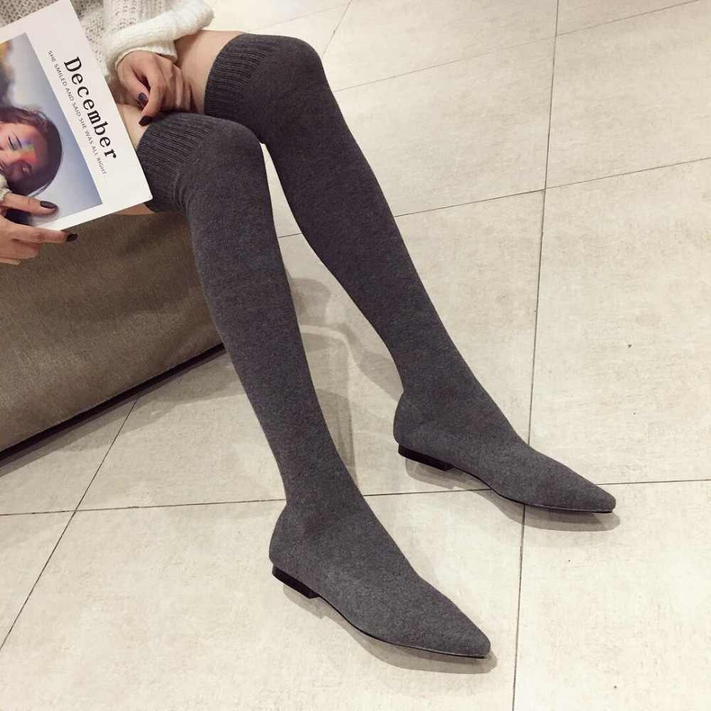 Over The Knee Women Boots Autumn Winter Boots Fashion Knitting Sock Boots Pointed Toe Flats Shoes Female Thigh High Boots