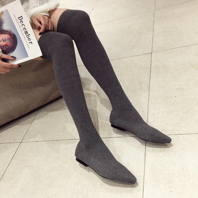 ef05c0ed717e Over The Knee Women Boots Autumn Winter Boots Fashion Knitting Sock Boots  Pointed Toe Flats Shoes