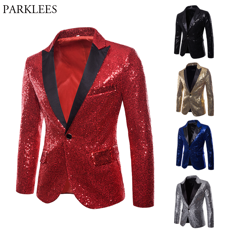 Mens Shiny Red Sequin Glitter Blazer Jacket Nightclub Party Prom Suit Blazer Male Costume Homme DJ Stage Clothers For Singers