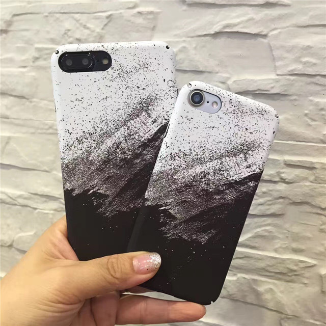 official photos afb0f 56741 US $3.49 |Black & White Phone Case for iphone 7 Case Matte Graffiti Art  Coque for iphone 7 Plus Case Hard PC Back Ink Painting Cover Capa on ...