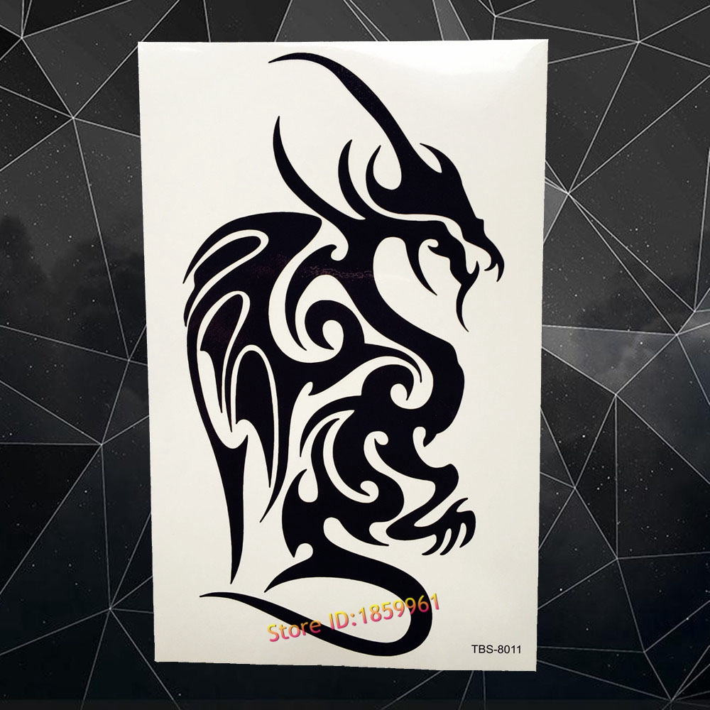 Considerate Black Dragon Totem Fake Flash Temporary Tattoo Men Body Art Shoulder Legs Arm Tattoo Waterproof Transfer Tatoo Summer Style Temporary Tattoos