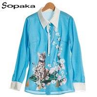 2018 Spring Yellow Blue Fashion Girl Shirt Full Sleeve Turn Down Collar Cat Animal Floral Print