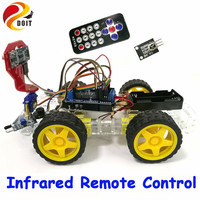4WD Smart Car Robot Chassis For Arduino With Tracking And Obstacle Avoidance By Infrared Remote Control