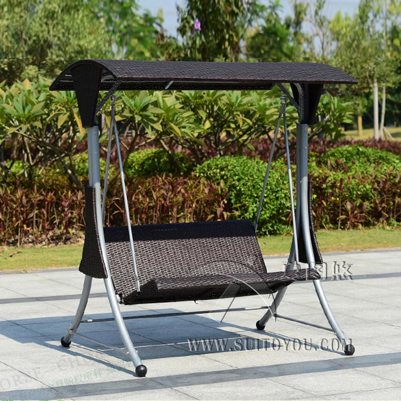 2 Person High Quality Wicker Garden Leisure Swing Chair Outdoor Hammock  Patio Leisure Cover Seat Bench With Cushion