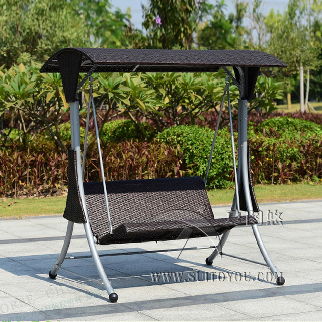 Bon 2 Person High Quality Wicker Garden Leisure Swing Chair Outdoor Hammock  Patio Leisure Cover Seat Bench