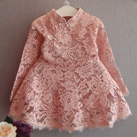 Fashion Toddler Girls Christmas Dress Long Sleeve Red Pink Girls Lace Dress Hollow Retro Girl Party
