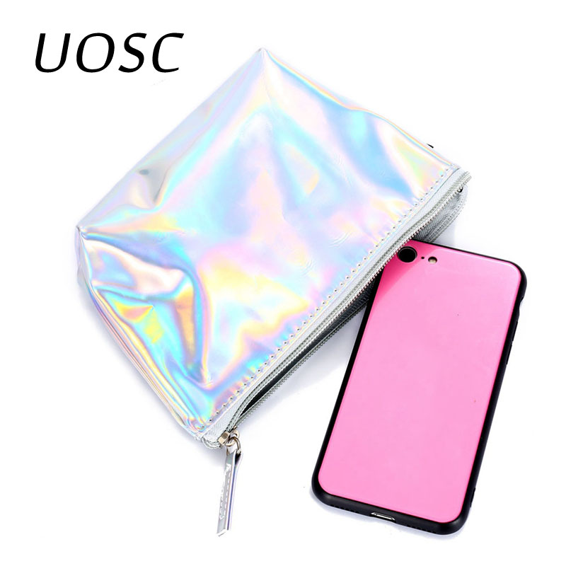 UOSC Portable PU Leather Makeup Bags Travel Organizer Cosmetic Bag Necessaries Women Casual Make Up Pouch Toiletry Holographic