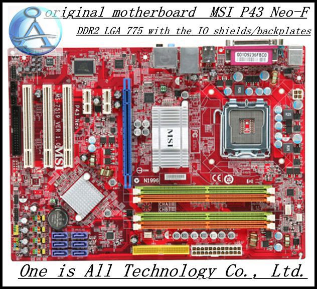 Free shipping  original motherboard for MSI P43 Neo-F DDR2 LGA 775 p43 Desktop Motherboard 100% new desktop motherboard 945gc f fully integrated network support core celeron 775 pin motherboard ddr2 free shipping