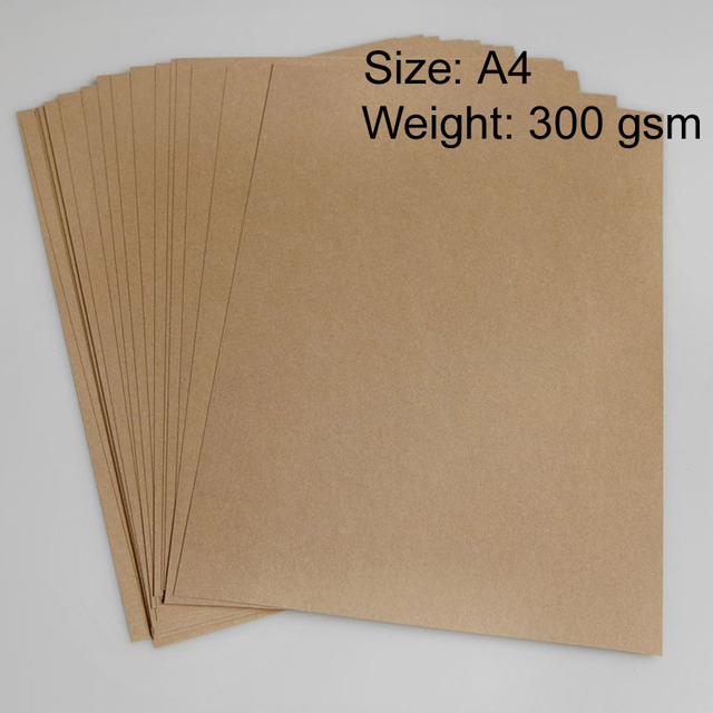 US $63 46 |300gsm A4 Brown Kraft Paper cardboard Wood Pulp thick Paper 50  sheets/pack on Aliexpress com | Alibaba Group