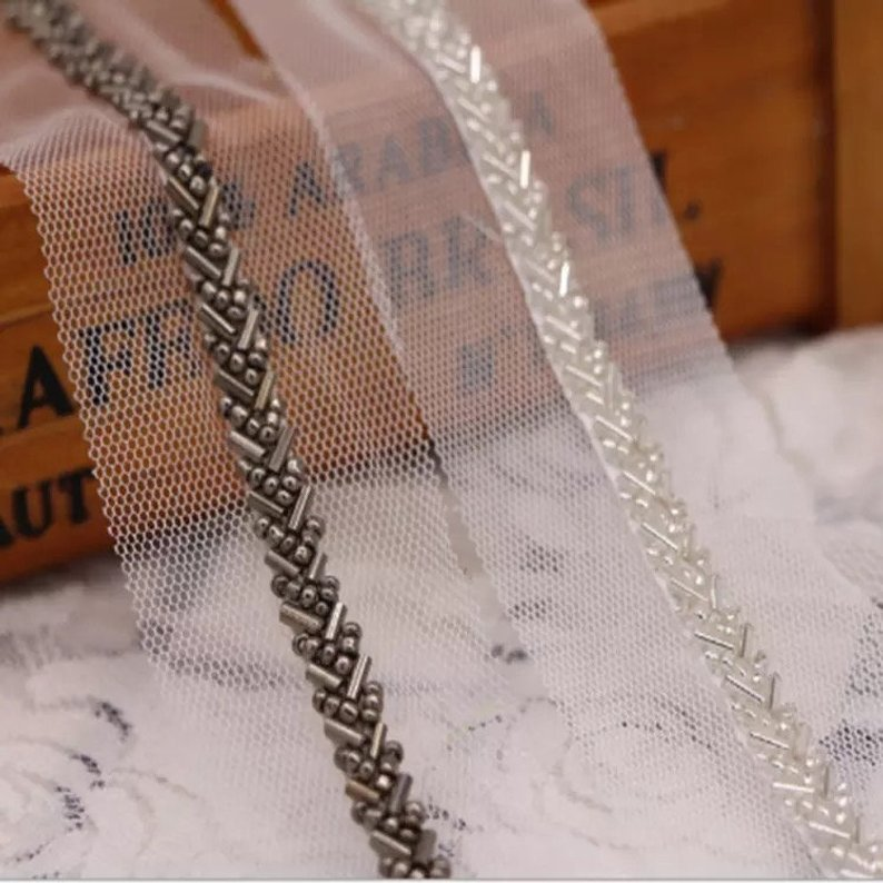 10 yards Gun color beaded lace trim bridal sash Bridal Belt beaded jewelry Trim Pearl Beading