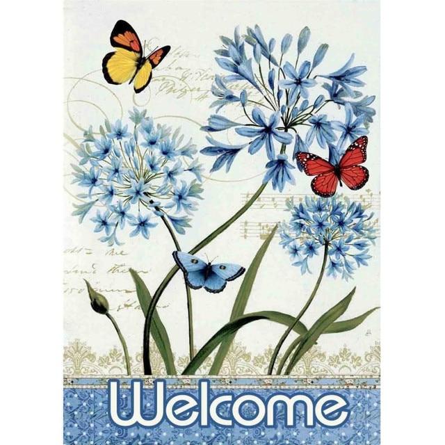 Beautiful Welcome Butterfly Flower Garden Flag Mason Jars 12.5 X 18inch Garden  Decoration Garden Flags BreezeArt Garden