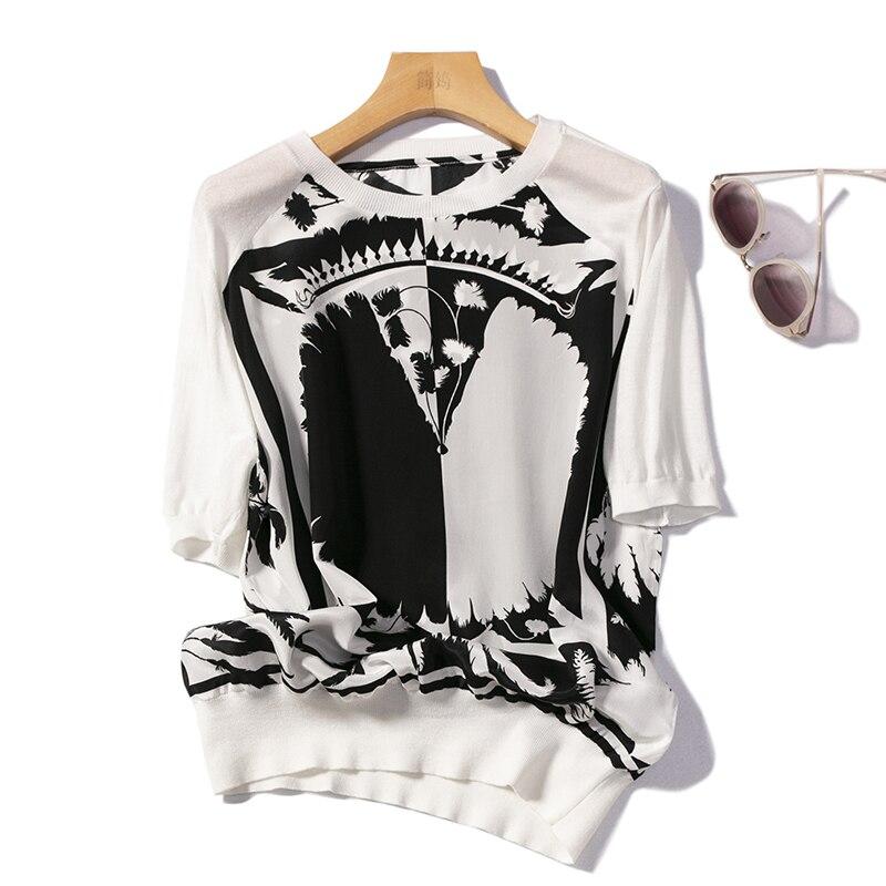 블라우스 여성 티셔츠 100% 실크 스플 라이스 니트 심플 v 넥 2 색 반팔 루스 탑 뉴 패션 2019-에서블라우스 & 셔츠부터 여성 의류 의  그룹 1