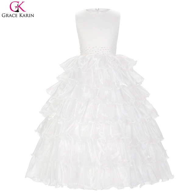 a9a5a79e03 Grace Karin Flower Girl Dresses For Wedding Child Party Communion White Graduation  Dresses Kids Girls Evening