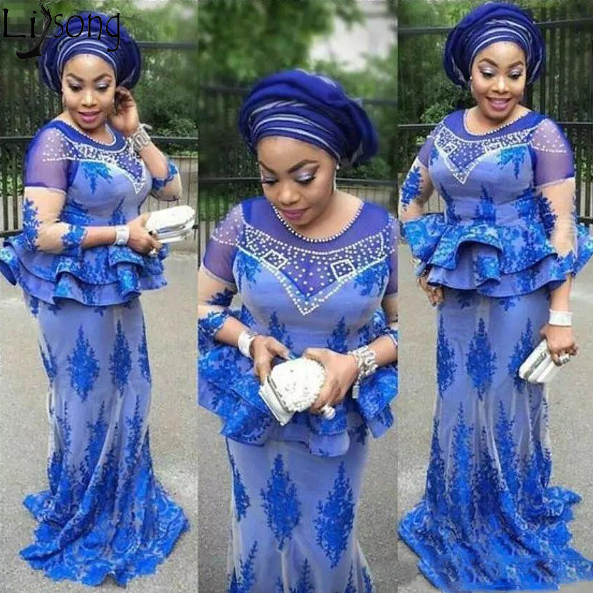 Plus Size African Royal Blue   Prom     Dresses   Mermaid Beaded Nigerian Lace Appliques Aso Ebi Evening Gowns Mother Of The Bride   Dress