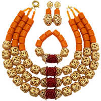 Fashion Orange Artificial Coral Beads African Necklace Jewelry Set Nigerian Wedding Jewelry Sets FSH 012