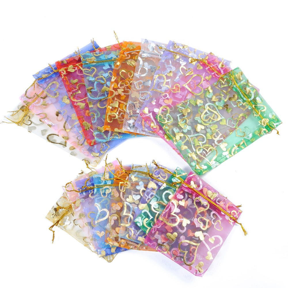 50Pcs/set 7x9cm Gold Rose/butterfly Organza Bags Jewelry Wedding Gift Pouch Mix Color For Christmas New Year Party Holiday Use