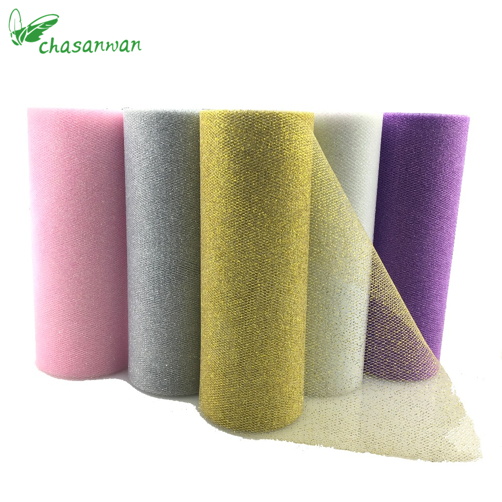 CHASANWAN Glitter Sequin Tulle Roll 10Yds 15cm Spool Tutu Bryllup Dekoration Organza Laser DIY Håndverk Birthday Party Supplies.Q