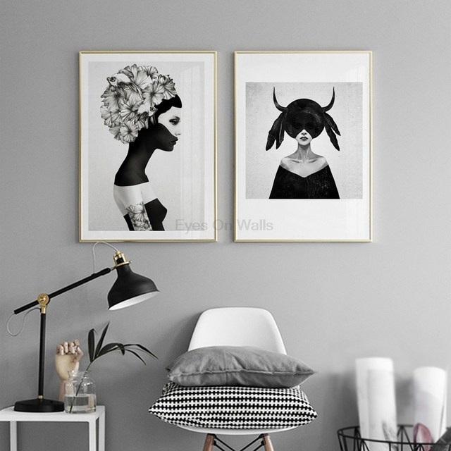 No Frame Black White Figure Painting Poster Scandinavian Canvas Painting For BedRoom Wall Picture Nordic Art Print Home Decor