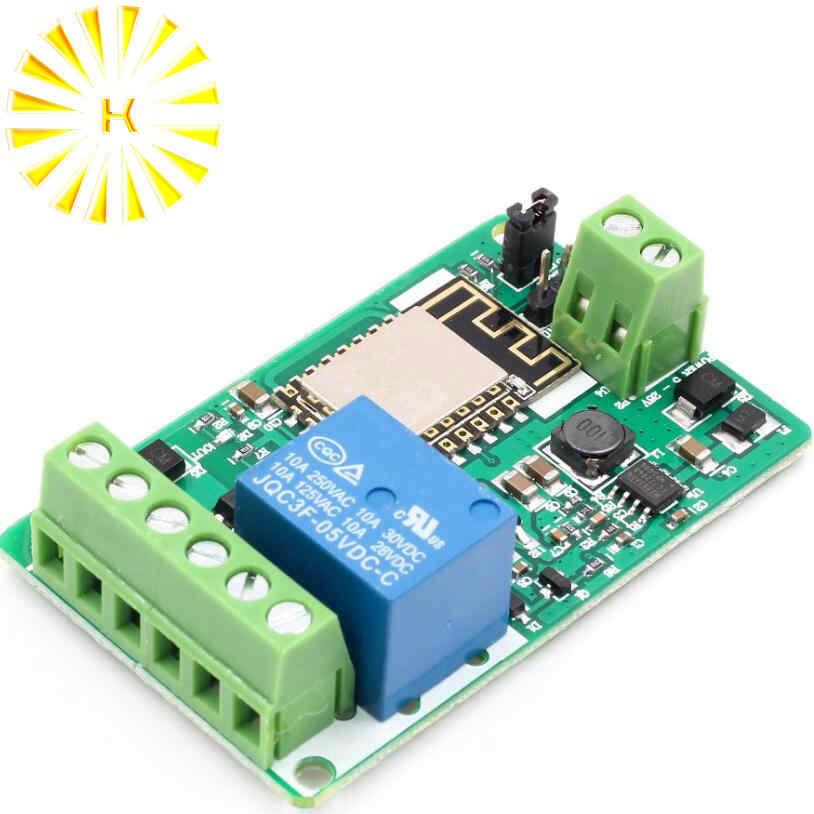 Esp8266 módulo de relé 10a 220 v rede relé wifi módulo entrada dc 7 v 30 30 v 4 camadas placa tvs entrada proteção automática